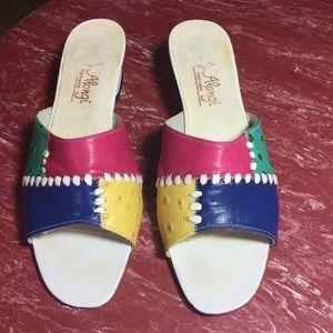 Shoes - Vintage Colorful J Alongi Leather Slides🥰😍